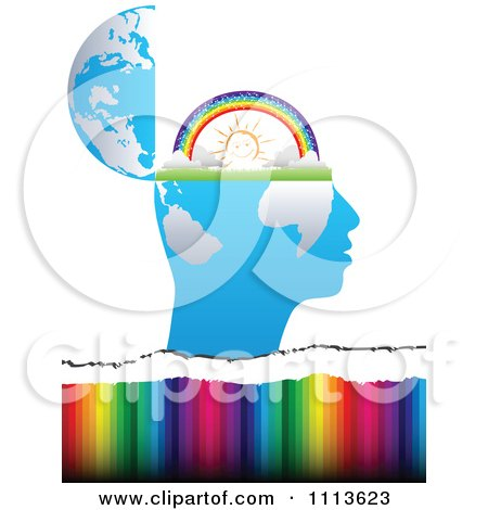 Clipart Profiled Head Globe Open With A Sunny Rainbow Over Colors - Royalty Free Vector Illustration by Andrei Marincas