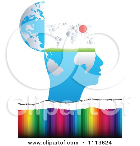 Clipart Profiled Head Globe Open With A Map Over Colors - Royalty Free Vector Illustration by Andrei Marincas