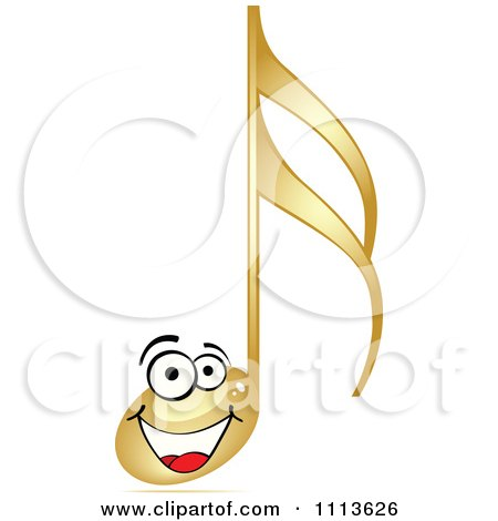 Clipart Happy Gold Music Note - Royalty Free Vector Illustration by Andrei Marincas