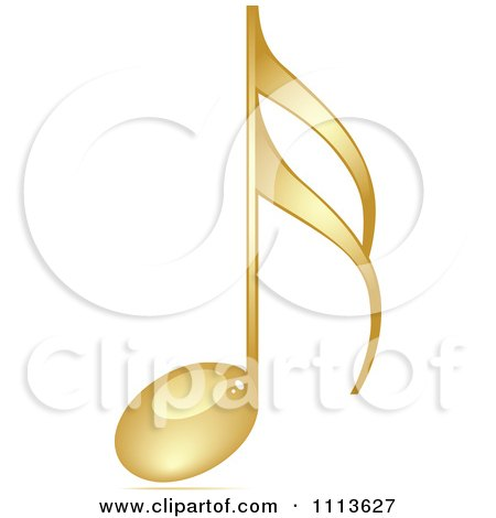 Clipart Shiny Gold Music Note - Royalty Free Vector Illustration by Andrei Marincas