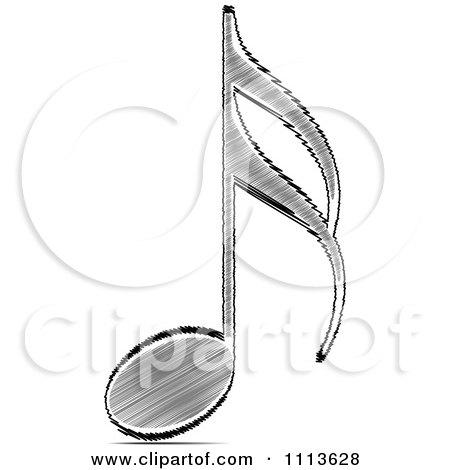Clipart Black Scribble Music Note - Royalty Free Vector Illustration by Andrei Marincas