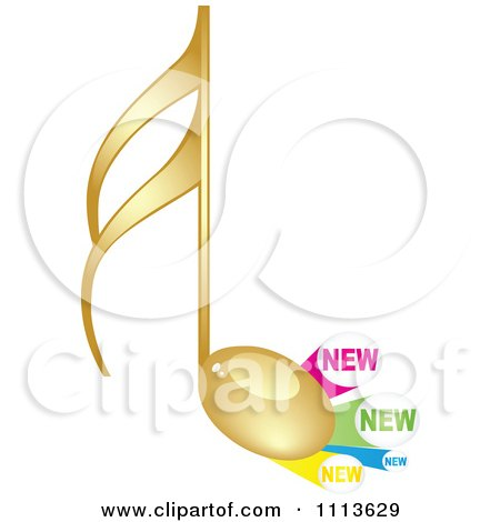 Clipart Gold Music Note With New Labels - Royalty Free Vector Illustration by Andrei Marincas