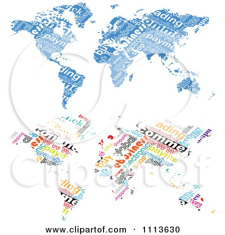 Clipart Blue And Colorful Word Collage World Maps - Royalty Free Vector Illustration by Andrei Marincas