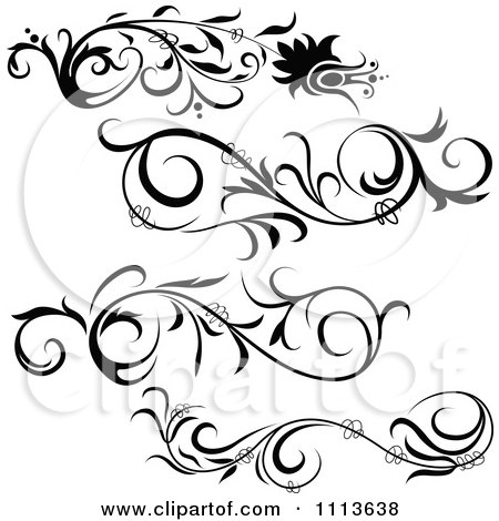 Clipart Black Floral Design Elements - Royalty Free Vector Illustration by dero