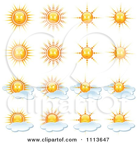 Clipart Sun And Weather Icons - Royalty Free Vector Illustration by dero