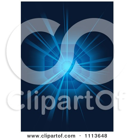 Clipart Blue Light Bursting From A Vortex - Royalty Free Vector Illustration by dero