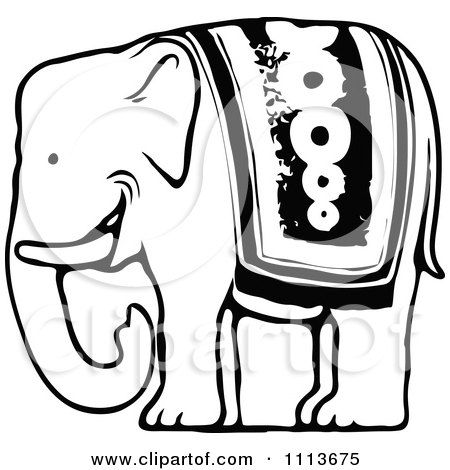 Clipart Vintage Black And White Circus Elephant - Royalty Free Vector Illustration by Prawny Vintage