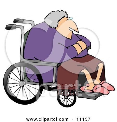 Senior Woman in a Wheelchair Clipart Picture by djart