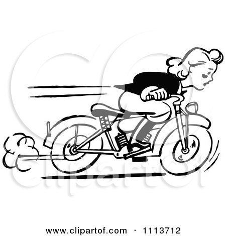 Clipart Retro Black And White Woman Racing A Motorcycle - Royalty Free Vector Illustration by Prawny Vintage