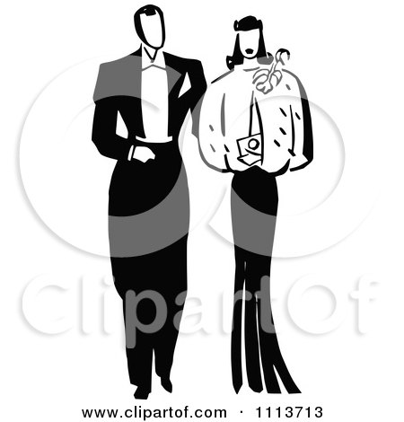 Clipart Retro Black And White Posh Couple - Royalty Free Vector Illustration by Prawny Vintage