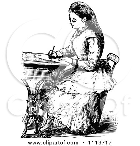 Vintage Black And White Victorian School Girl Writing At A Desk Posters, Art Prints
