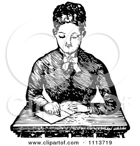 Vintage Black And White Female Teacher Writing At A Desk Posters, Art Prints