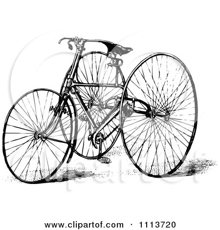Clipart Vintage Black And White Tricycle - Royalty Free Vector Illustration by Prawny Vintage