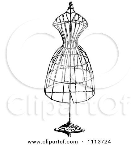 Clipart Vintage Black And White Wire Dressmaker Frame - Royalty Free Vector Illustration by Prawny Vintage