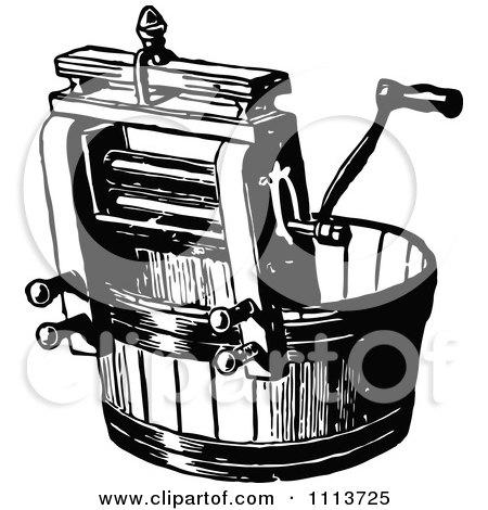 Clipart Vintage Black And White Laundry Wringer - Royalty Free Vector Illustration by Prawny Vintage