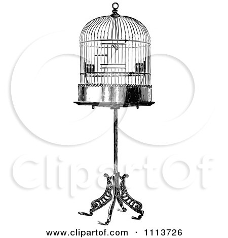Clipart Vintage Black And White Antique Bird Cage On A Stand - Royalty Free Vector Illustration by Prawny Vintage