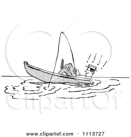 Clipart Retro Black And White Man Leaning Back In A Boat While Fishing - Royalty Free Vector Illustration by Prawny Vintage