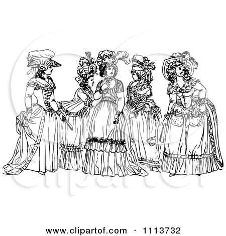 Clipart Vintage Black And White Ladies In Dresses - Royalty Free Vector Illustration by Prawny Vintage