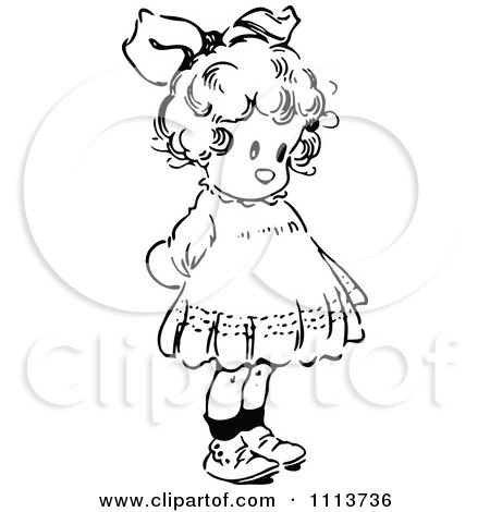 Clipart Vintage Black And White Cute Girl With Her Hands Behind Her Back - Royalty Free Vector Illustration by Prawny Vintage