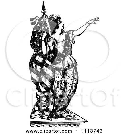Clipart Vintage Black And White Lady Liberty Leaning Against A Flag And Pointing Royalty Free Vector Illustration