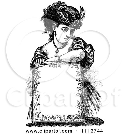 Clipart Vintage Black And White Lady Resting Over A Sign - Royalty Free Vector Illustration by Prawny Vintage
