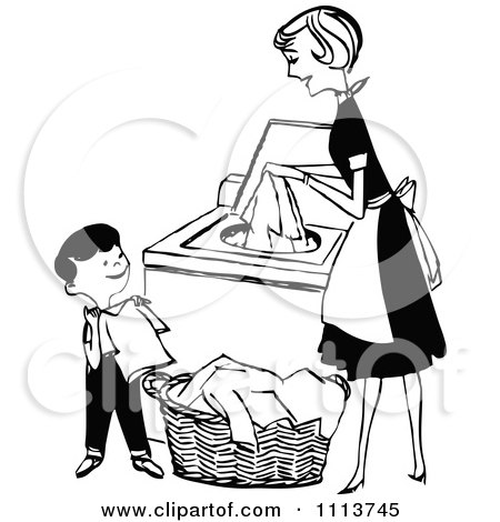 Clipart Retro Black And White Mother And Son Folding And Washing Laundry - Royalty Free Vector Illustration by Prawny Vintage