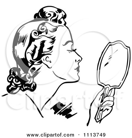 Clipart Retro Black And White Woman Using A Hand Mirror