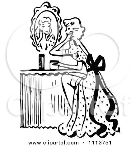 Clipart Retro Black And White Woman Looking At A Mirror At Her Vanity Table Royalty Free Vector Illustration