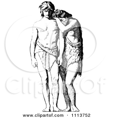 Clipart Vintage Black And White Adam And Eve - Royalty Free Vector Illustration by Prawny Vintage