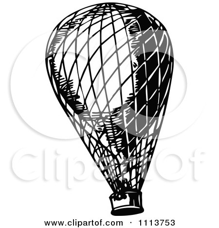Clipart Vintage Black And White Hot Air Balloon - Royalty Free Vector Illustration by Prawny Vintage