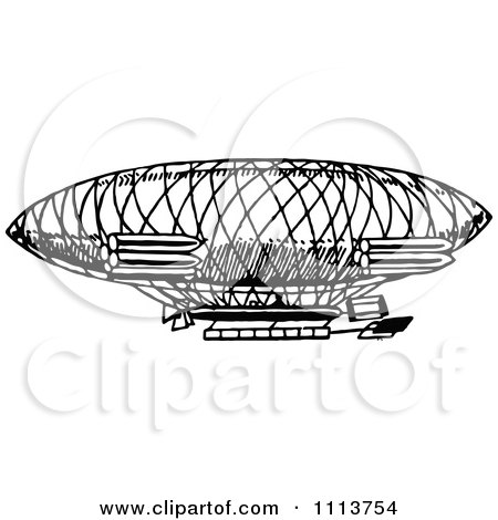 Clipart Vintage Black And White Airship - Royalty Free Vector Illustration by Prawny Vintage
