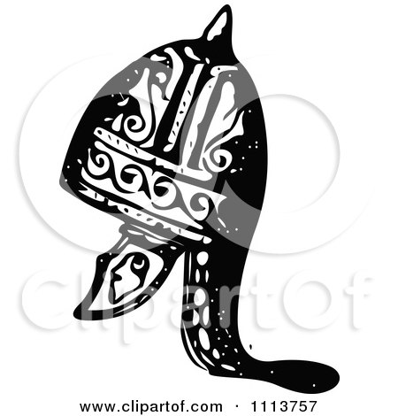 Clipart Vintage Black And White Ancient Armour Helmet 16 - Royalty Free Vector Illustration by Prawny Vintage