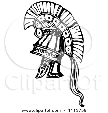 Clipart Vintage Black And White Ancient Armour Helmet 5 Royalty Free Vector Illustration
