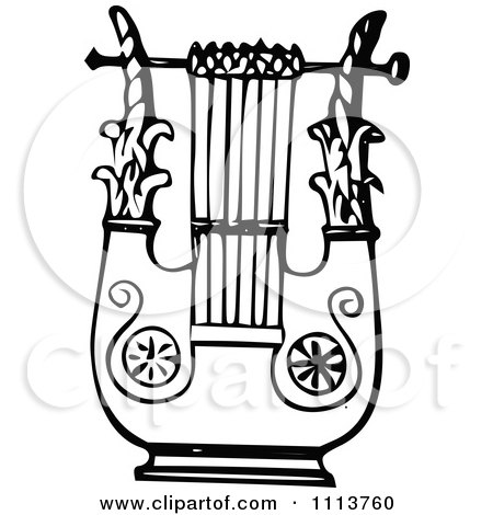 Clipart Vintage Black And White Ancient Lyre Instrument 5 - Royalty Free Vector Illustration by Prawny Vintage
