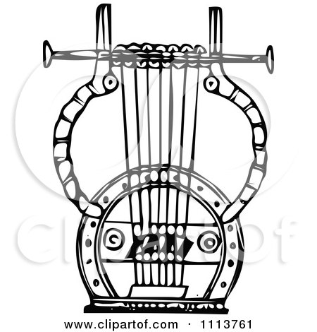 Clipart Vintage Black And White Ancient Lyre Instrument 7 - Royalty Free Vector Illustration by Prawny Vintage