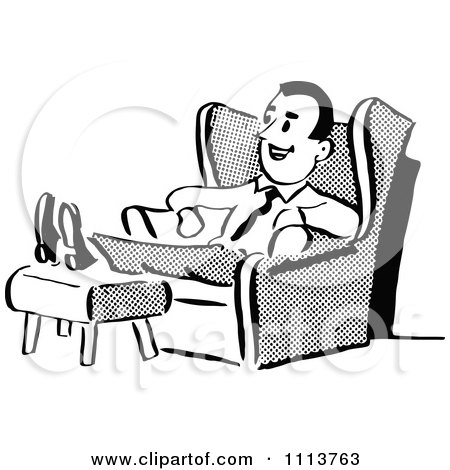 Clipart Retro Black And White Husband Or Father Relaxing In A Chair - Royalty Free Vector Illustration by Prawny Vintage