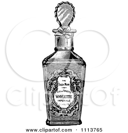 Clipart Of A Retro Vintage Black And White Glass Perfume