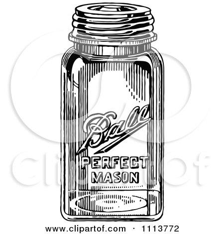 Clipart Vintage Black And White Canning Mason Jar - Royalty Free Vector Illustration by Prawny Vintage