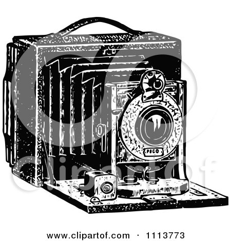 Clipart Vintage Black And White Camera With Bellows - Royalty Free Vector Illustration by Prawny Vintage