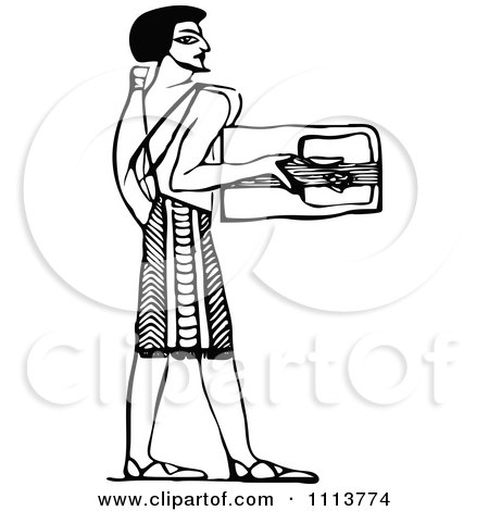 Clipart Vintage Black And White Ancient Egyptian Lyre Musician 1 - Royalty Free Vector Illustration by Prawny Vintage