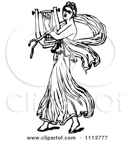 Clipart Vintage Black And White Ancient Musican Playing A Harp 2 - Royalty Free Vector Illustration by Prawny Vintage