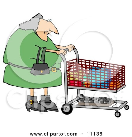 Gray Haired Woman Pushing a Shopping Cart in a Grocery Store Clipart Picture by djart