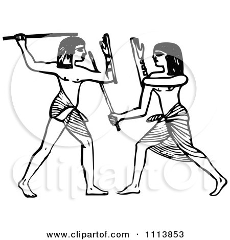 Clipart Vintage Black And White Ancient Egyptians Fencing - Royalty Free Vector Illustration by Prawny Vintage