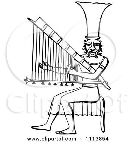 Clipart Vintage Black And White Ancient Egyptian Harp Musician - Royalty Free Vector Illustration by Prawny Vintage
