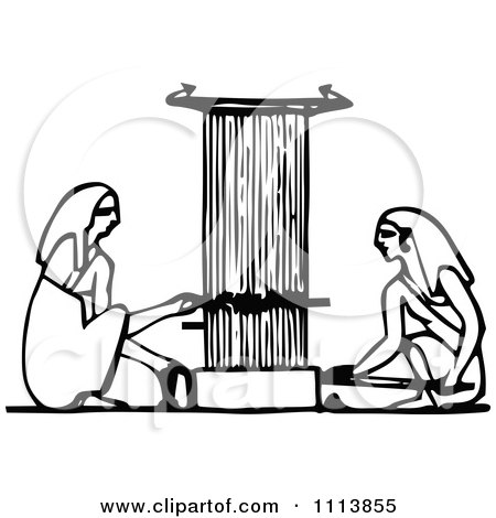 Clipart Vintage Black And White Ancient Egyptians Using A Loom - Royalty Free Vector Illustration by Prawny Vintage