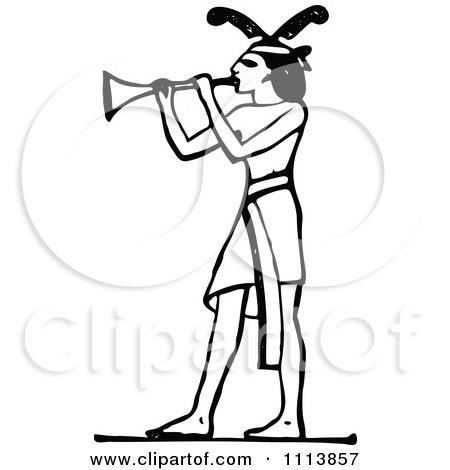 Clipart Vintage Black And White Ancient Egyptian Trumpet Musician - Royalty Free Vector Illustration by Prawny Vintage