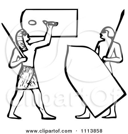 Clipart Vintage Black And White Ancient Egyptian Spearmen Guards - Royalty Free Vector Illustration by Prawny Vintage