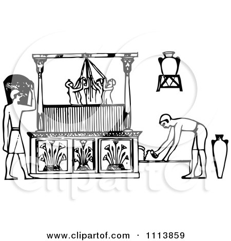 Clipart Vintage Black And White Ancient Egyptian Winepress Workers 1 - Royalty Free Vector Illustration by Prawny Vintage