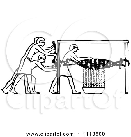 Clipart Vintage Black And White Ancient Egyptian Winepress Workers 2 - Royalty Free Vector Illustration by Prawny Vintage