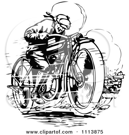 Clipart Vintage Black And White Man Racing A Motorcycle - Royalty Free Vector Illustration by Prawny Vintage